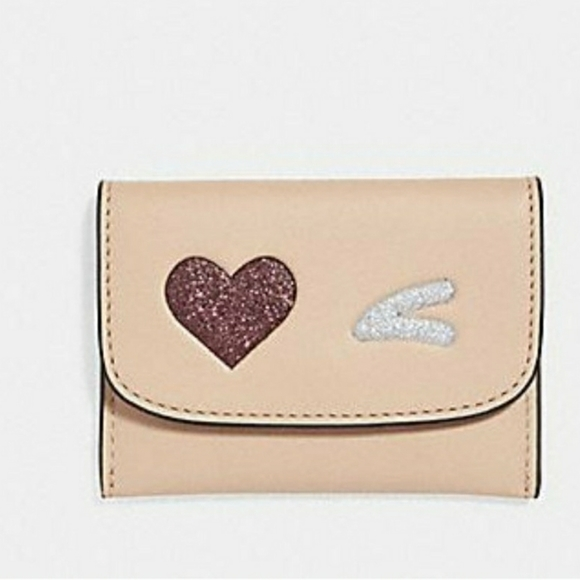 Coach Glitter Heart Card Case Holder